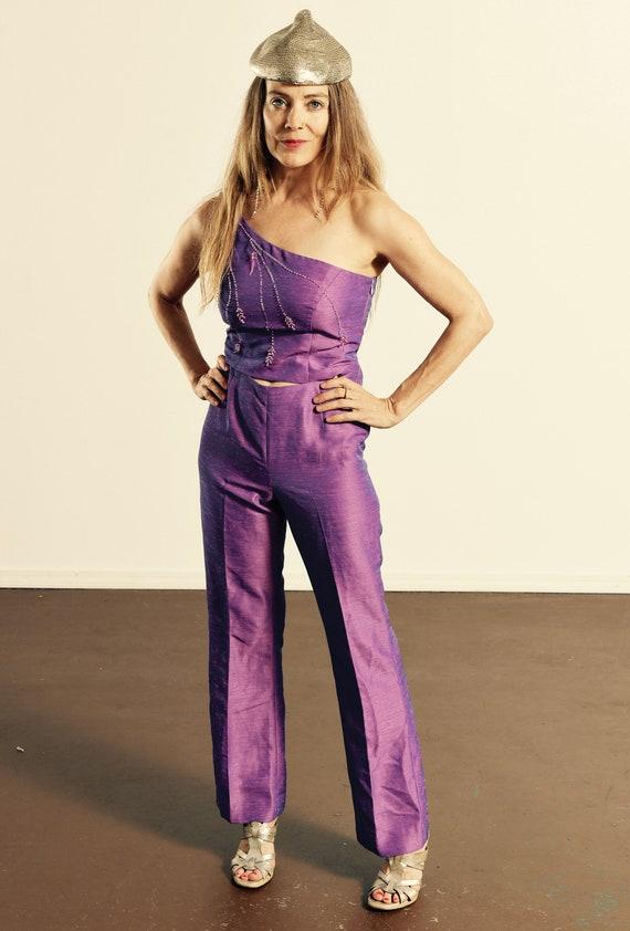 One shoulder Jumpsuit/ Cut out Jumpsuit/ Purple Ju
