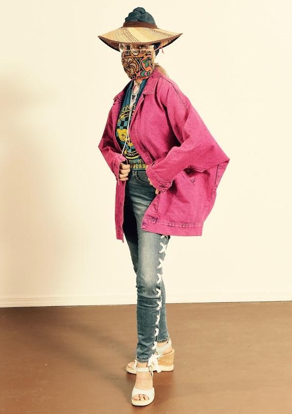 SUNDANCE Denim Wear/ 80's Dyed Denim Jacket/ Fuchs