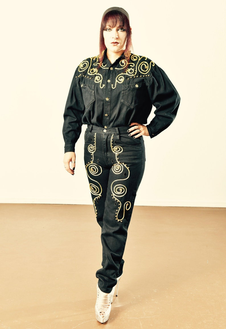 80/'s Don/'t Stop Jeans Bo/'s Denim Pantsuit Vintage Denim Pantsuit Embroidered Denim Pantsuit Size M