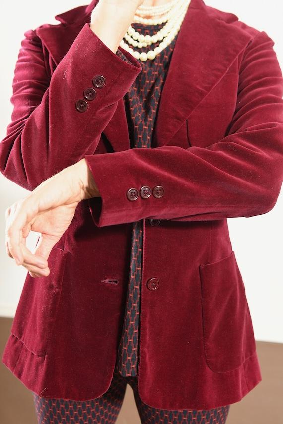JH Harry's Santa Fe/ Vintage Velvet Blazer/ Burgu… - image 8