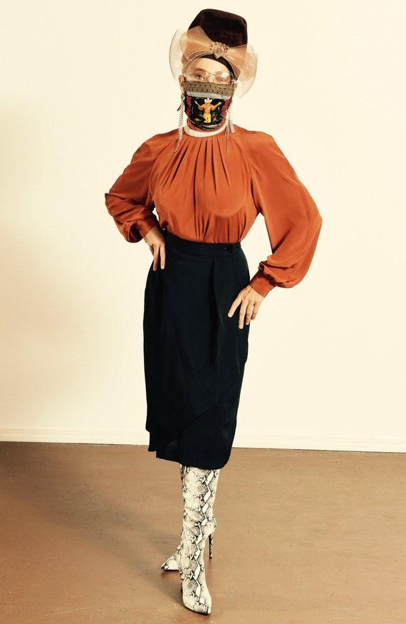 Vintage Wrap Skirt/ Black Wrap Skirt/ 80's Black W