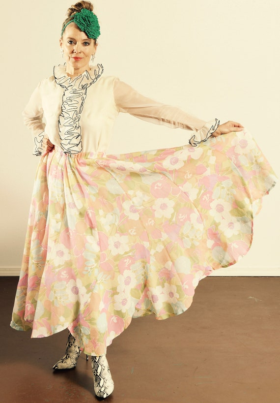 Cotton Floral Prairie Skirt/ Tulip Skirt/ Floral T