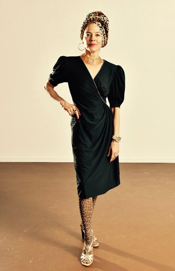 80's Black Cocktail Dress/ Vintage Rimini Party Dr
