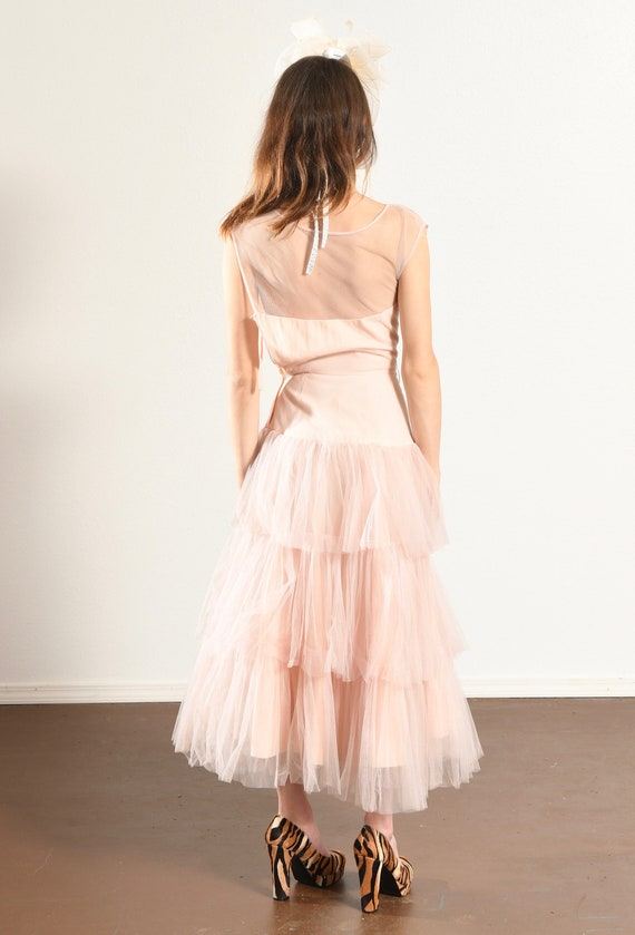 1960's Pink Prom Dress/ Vintage Tulle Prom Dress/… - image 5