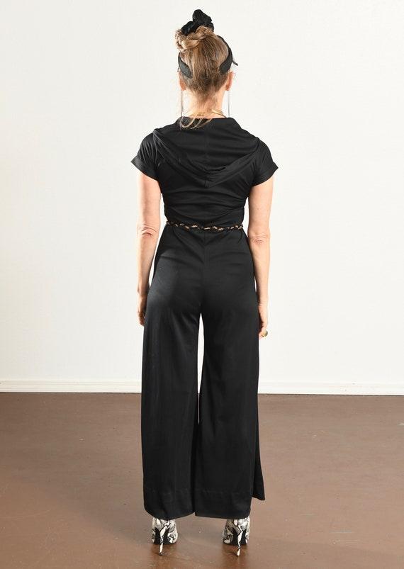 70's Disco Jumpsuit/ 70's Hooded Jumpsuit/ Black … - image 5