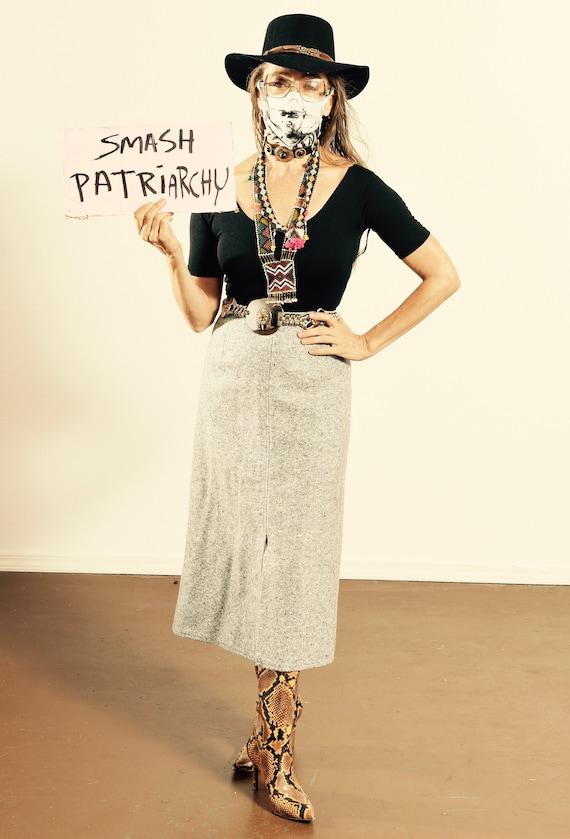 Vintage Wool Skirt/ 70's Wool Secretary Skirt/ Gra
