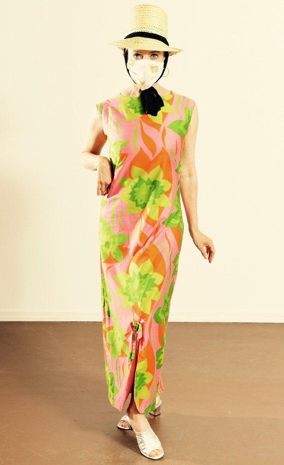 60's Floral Dress/ 60's Sundress/ Vintage Sundress