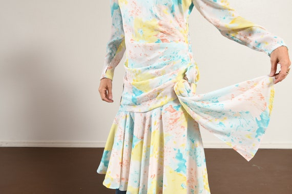 80's Floral Dress/ 80's Drop Waist Dress/ 80's Ch… - image 8