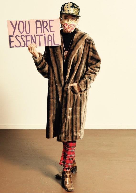 Faux Fur Mink Coat/ Faux Fur Coat/ 60's Faux Fur C