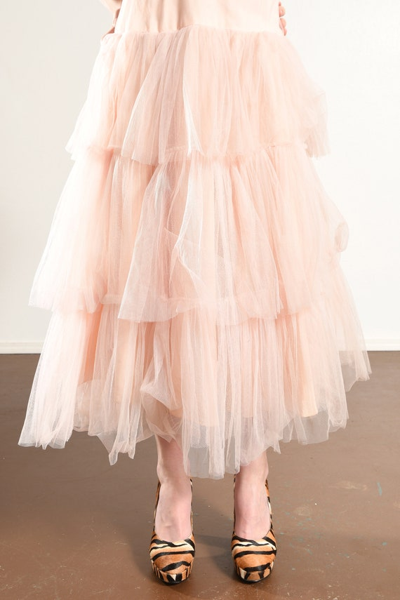 1960's Pink Prom Dress/ Vintage Tulle Prom Dress/… - image 9