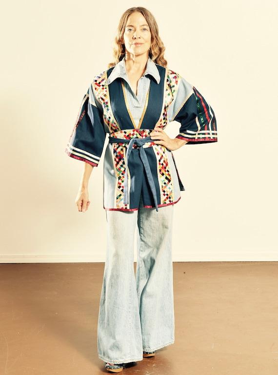 70's Denim Kimono/ Vintage Kimono/ Short Kimono/ W