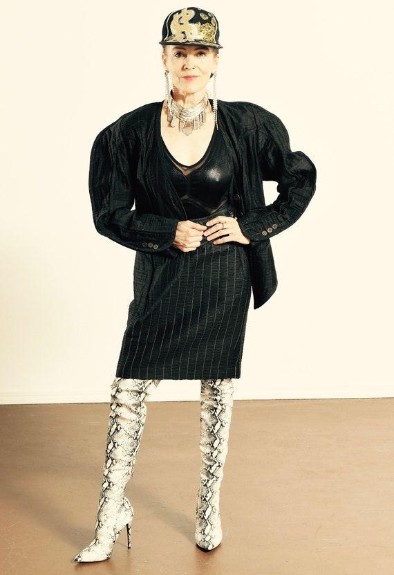 JEANNE MARC/ Jeanne Marc Black Blazer/ Black Quilt