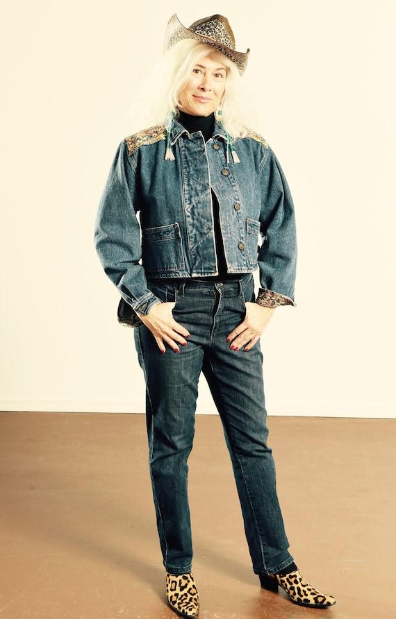 80's Denim Tapestry Jacket/ Tapestry Denim Jacket/