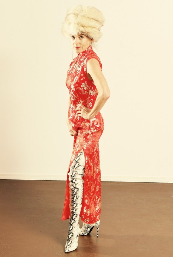 Red and White Gold Cheongsam Dress/ Huamei Fashion
