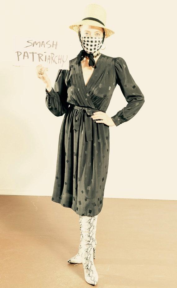 Vintage Liz Claiborne/ 70's Secretary Dress/ Black