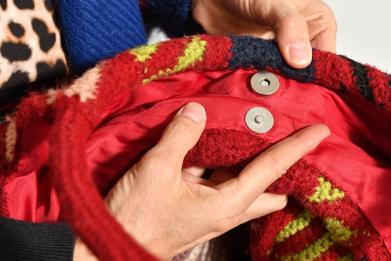 Oversize hand knit Purse/ Oversize Granny Square … - image 9