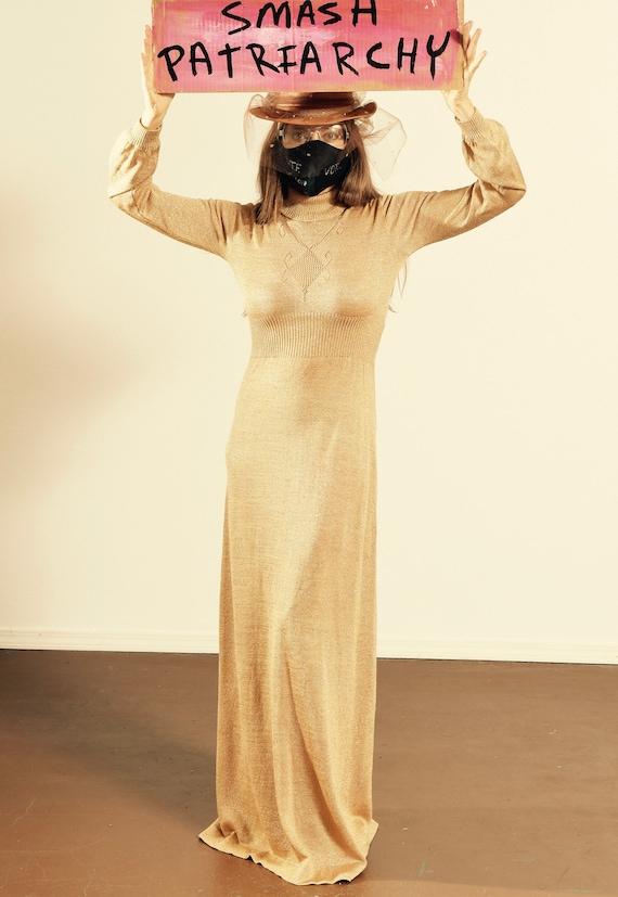 Shayne Knit Dress/ 70's Gold Knit Dress/ Vintage G