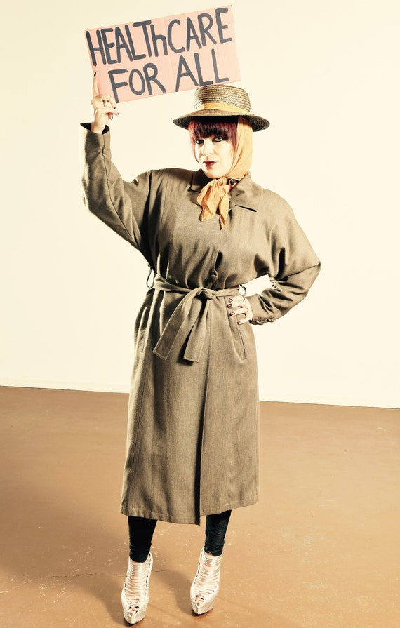 London Fog Trench Coat/ Olive Wool Trench Coat/ Wo