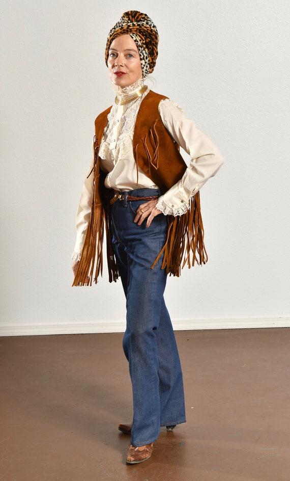 70's Suede Fringe Vest/ Vintage Suede Fringe Vest… - image 10