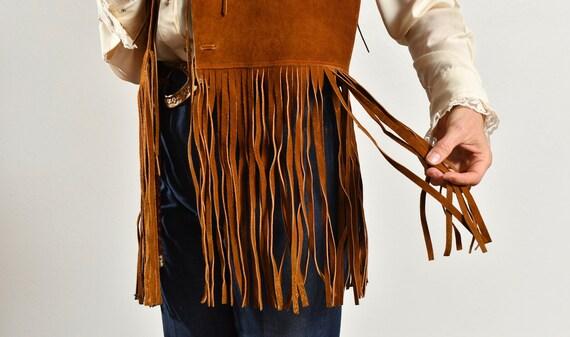 70's Suede Fringe Vest/ Vintage Suede Fringe Vest… - image 6