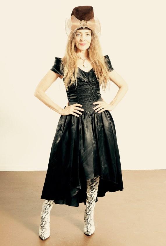 GUNNE SAX Black Dress/ 80's Gunne Sax Prom Dress/