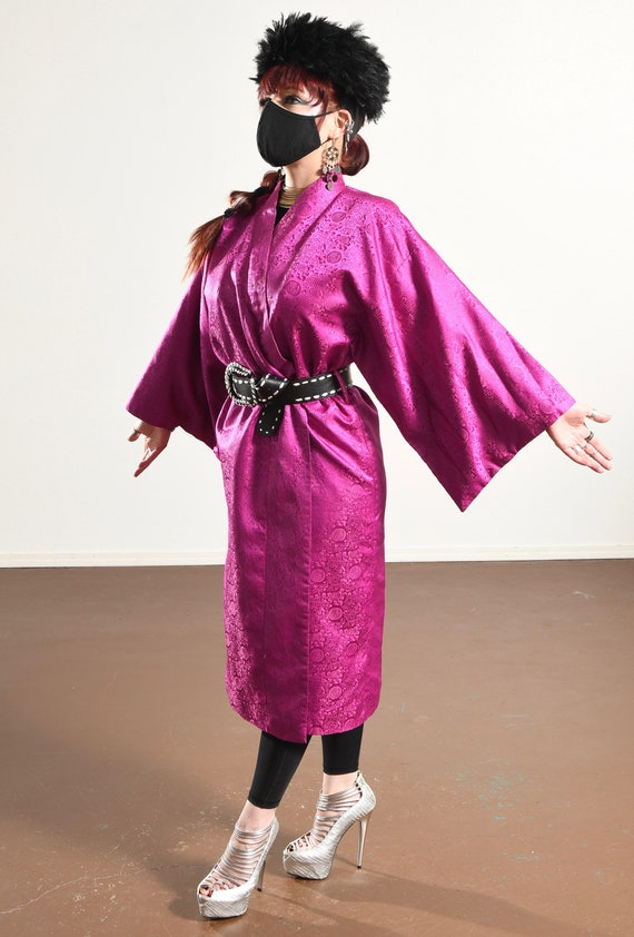 Vintage Kimono/ Fuchsia Kimono/ Pink Kimono Robe/… - image 7