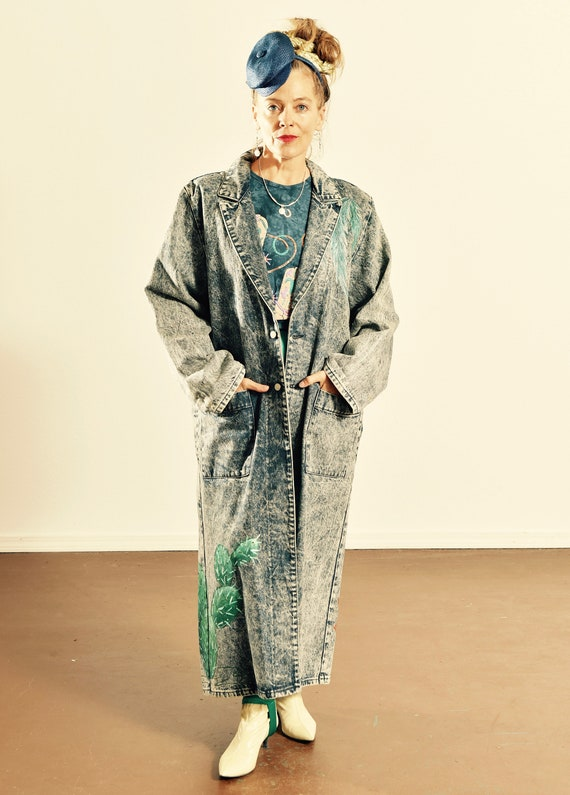 Vintage Sundance Denim Duster/ Painted Denim Duste