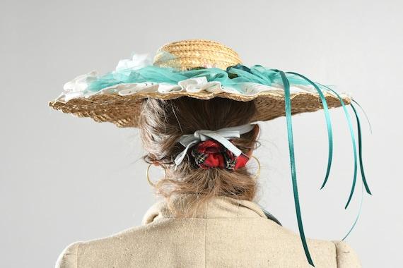 Wide Straw Brim Hat/ Edwardian Straw Hat/ Straw H… - image 4