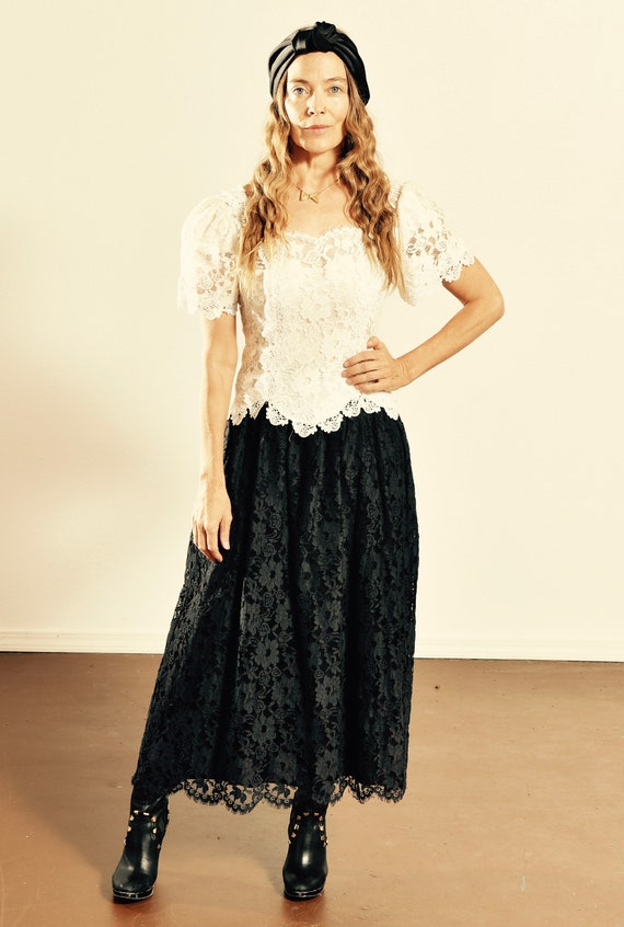 Cachet by Bari Protas/ 80's Lace Dress/ 80s Puff S