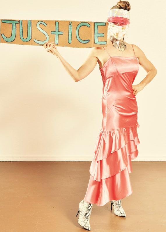 Kiki USA/ 80's Ruched Dress/ 80's Prom Dress/ Vint