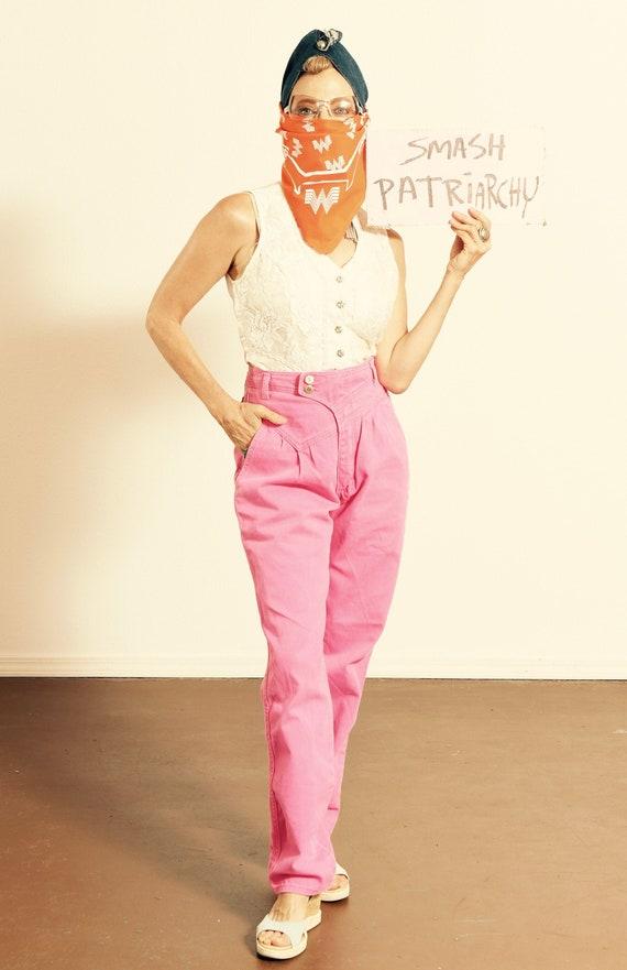 80's Wrangler/ 80's High Waisted Jeans/ Pink Denim