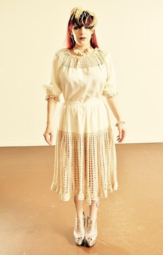 Vintage Crocheted Skirt Set/ 70's Crocheted Peasan