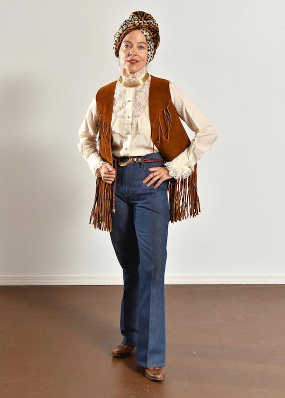 70's Suede Fringe Vest/ Vintage Suede Fringe Vest… - image 3