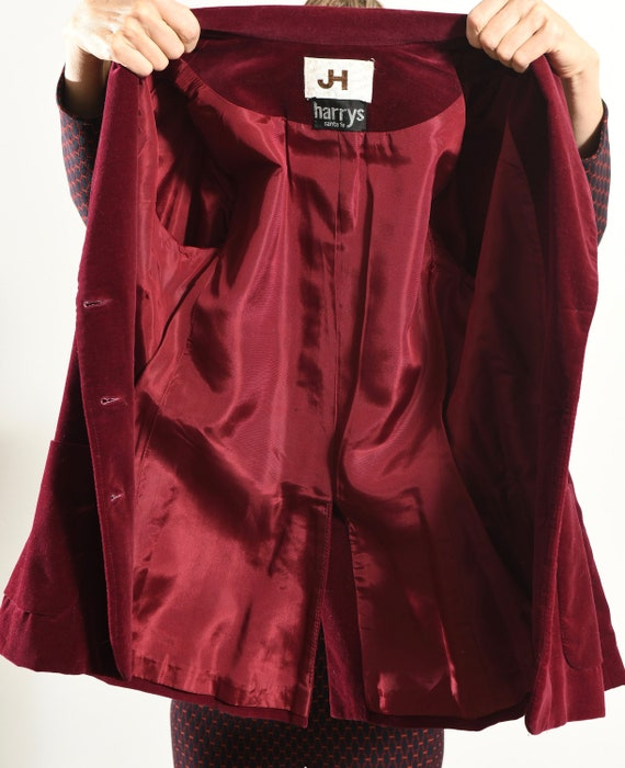 JH Harry's Santa Fe/ Vintage Velvet Blazer/ Burgu… - image 9