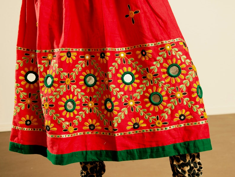 03664fff47 Vintage Rajasthani Skirt With Mirrors and Embroidery/ 100% | Etsy