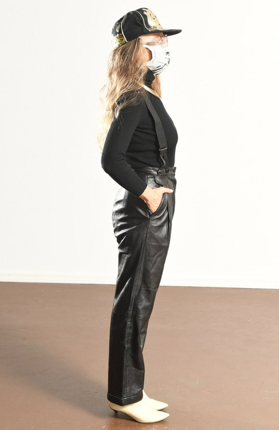 Erez Levy Leather Pants/ 80's Black Leather Pants… - image 9