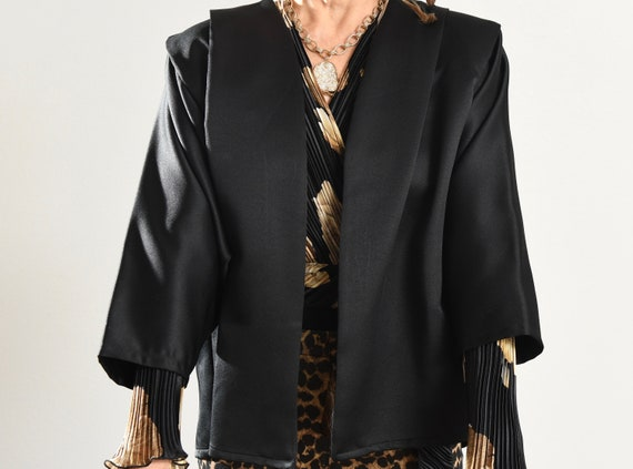 Black Kimono Blazer/ 80's Kimono/ 80's Kimono Jac… - image 9