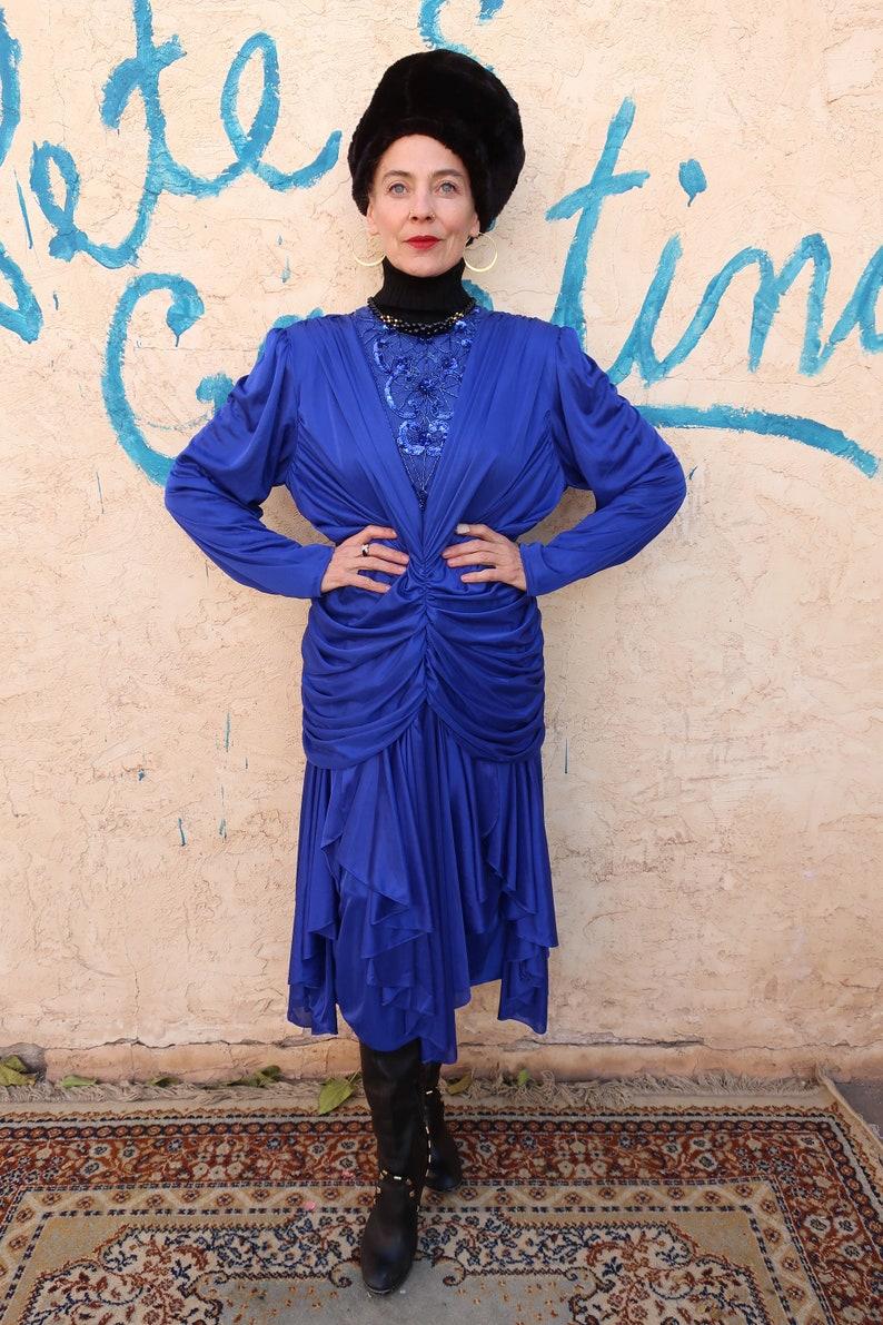 80/'s Blue Disco Dress Abby Kent Beaded /& Draped Vintage Size 1718