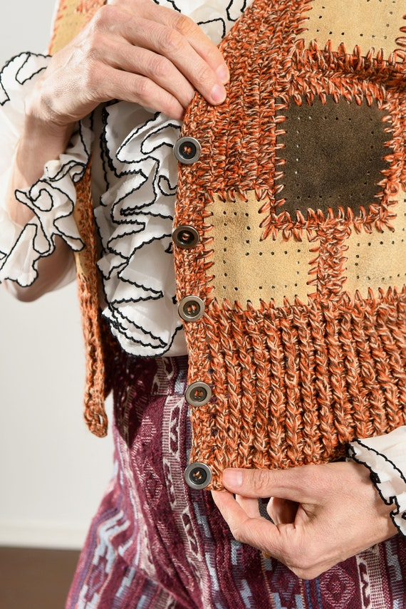 HARPEES/ 70's Suede Patchwork Sweater/ Suede Patc… - image 7