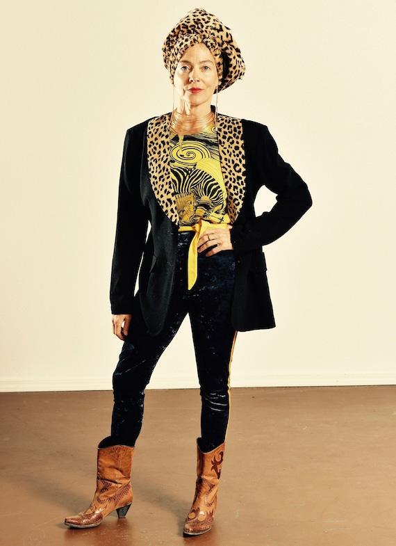 Casual Corner/ Vintage Leopard Print Blazer/ 90's