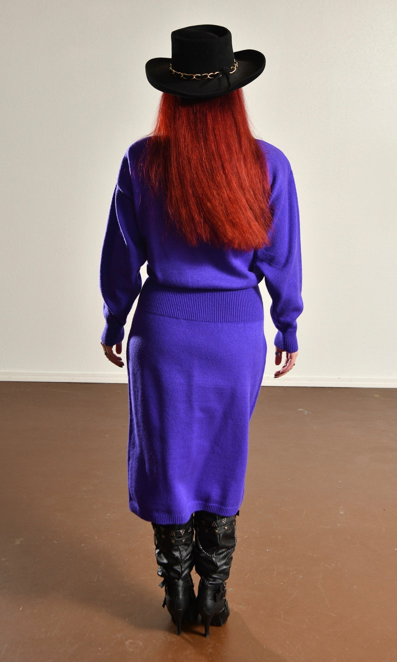 25e74293ba6 Vintage 80 s Purple Sweater Dress with Beads  Darian