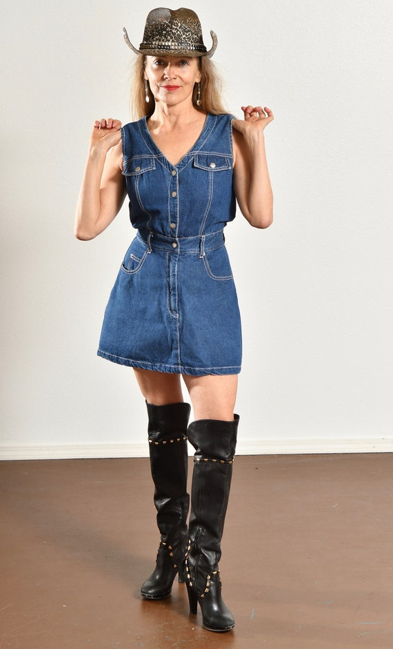 Paris Blues Jean Romper/ 90's Denim Romper/ Vinta… - image 2