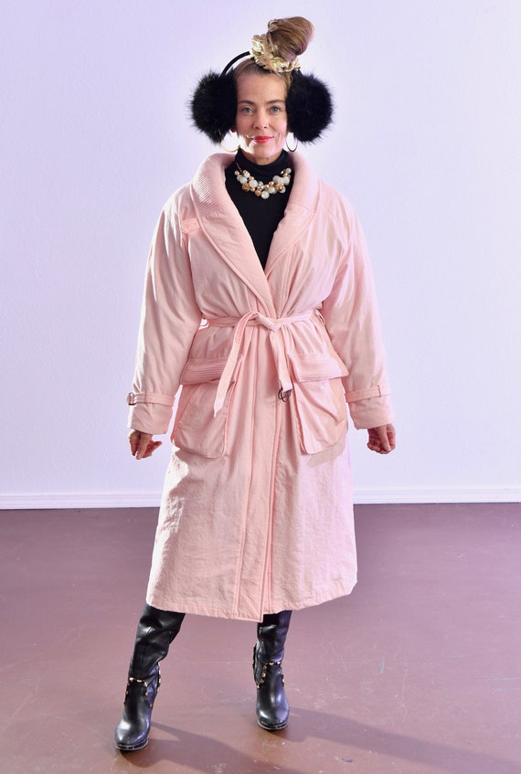 80's puffer coat/ Pink Puffer Coat/ Winter Trench… - image 2