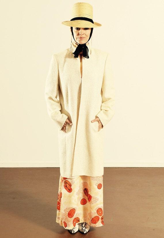 Tahari Linen Dress Coat/ Wool Nehru Coat/ Cream We