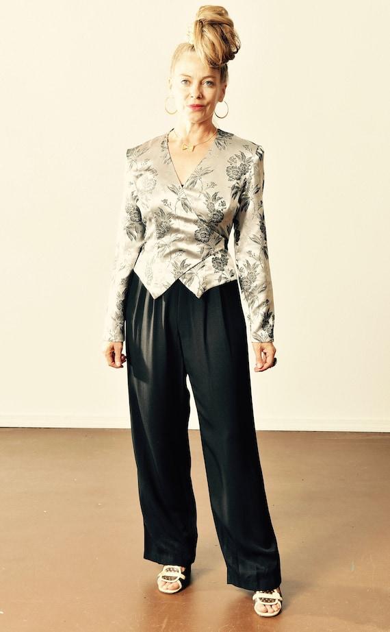 Vintage Silver Jumpsuit/ 80's Tuxedo Jumpsuit/ Vin