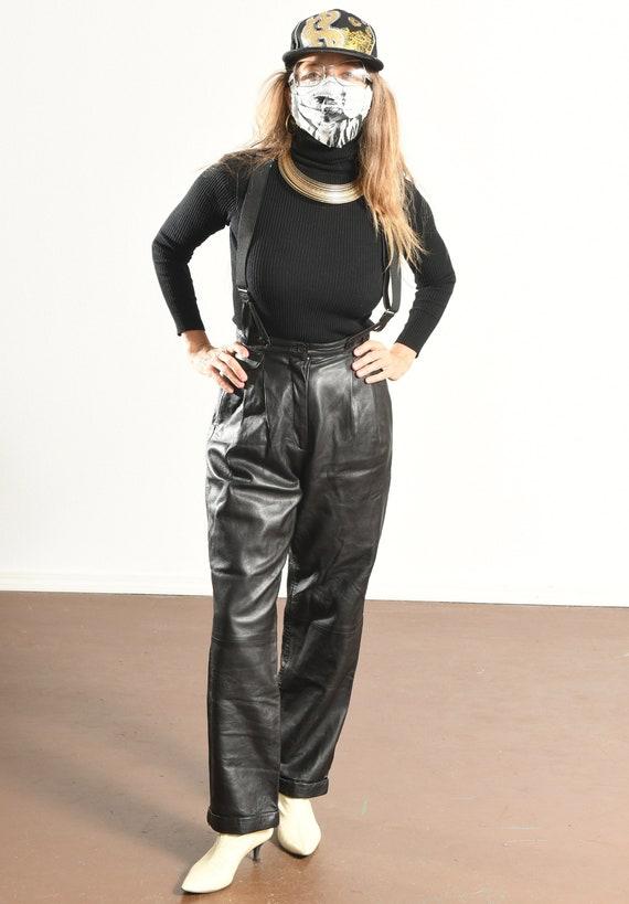 Erez Levy Leather Pants/ 80's Black Leather Pants… - image 2