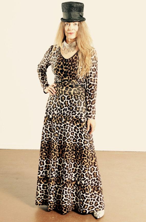 70's Leopard Print Maxi Dress/ Leopard Print Empre