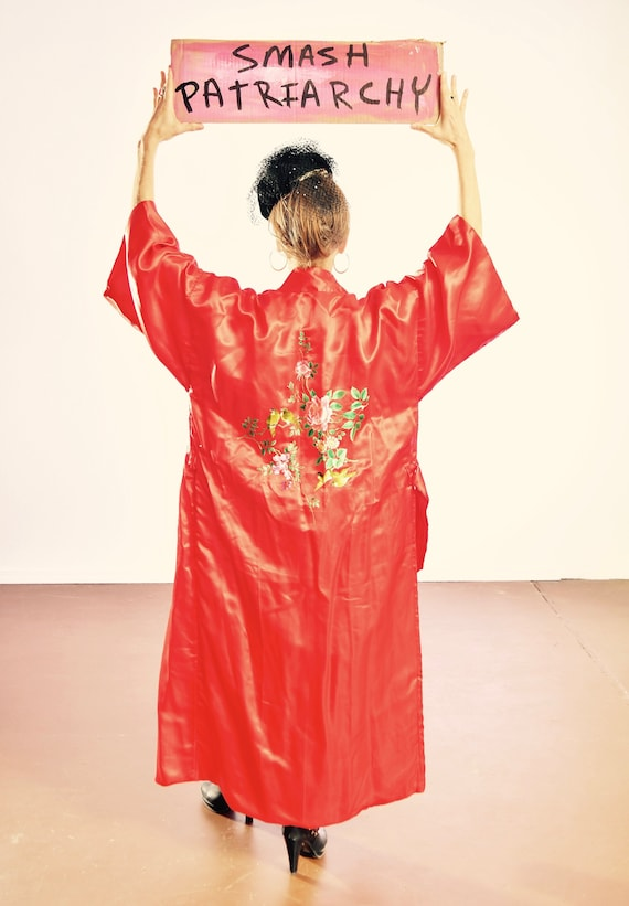 Red Silk Chinese Robe/ Silk Embroidered Asian Robe