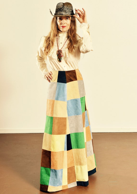 70's Patchwork Skirt/ 70's Faux Suede Skirt/ Vinta