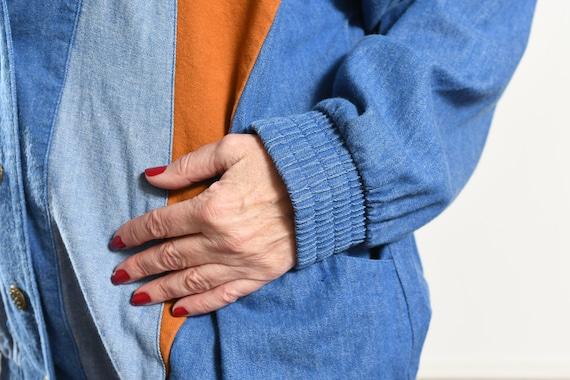 Southwest Denim Patchwork Jacket/ 80's Southwest … - image 6